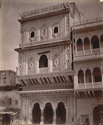 Private house with ornately-carved façade, Lashkar 10031426